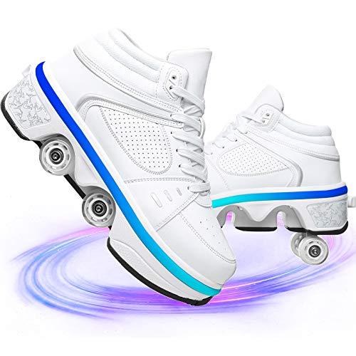 NNZZY Schuhe Mit Rollen 2 in 1 Multifunktions Inline Skates Mit Bunten LED-Lichtern Multifunktions Deformations Skating Für Männer Frauen Und Kinder,Led White,35