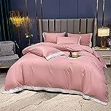Fundas Nórdicas Suave Y Respirable con Cremallera Juego de funda nórdica de algodón satinado suave doble de lujo, color sólido, juego de ropa de cama, sábanas, fundas de almohada, rosa, 200 * 230cm