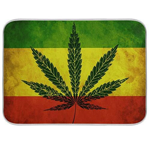 Estera de microfibra para secar platos, extra grande, súper absorbente, diseño de doble cara para cocina, bandera de hoja de cannabis de 18 x 24 pulgadas
