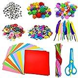 Thinkingwings Kunst-Bastelsets für Kinder und Kleinkinder, zum Basteln von Kindern, inklusive Pfeifenreiniger, Wackelaugen, Glitzer-Pompons, Feder, Knöpfe, Pailletten, Origami-Papier usw.