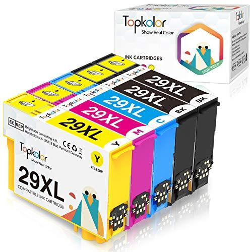 Topkolor 29XL Cartucho de Tinta Compatible para Epson 29 29XL Compatible con Epson Expression Home XP-245 XP-352 XP-442 XP-342 XP-235 XP-342 XP-335 XP-432 XP-435(2 Negro,1 Cian,1 Magenta,1 Amarillo)