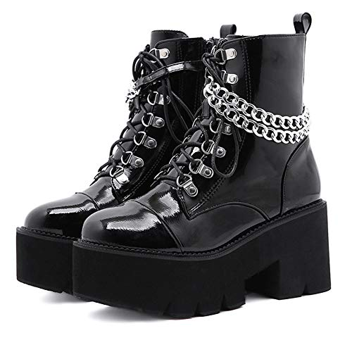 Womens Chunky Platform Ankle Boots For Women Punk Chain High Heel Fashion Boots Lace Up Zip Square Toe Combat Boots