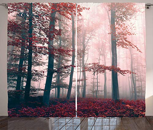 """Ambesonne Forest Curtains, Autumn Season Mystic Foggy Fall Nature and Enchanted Woods Wild Trees Print, Living Room Bedroom Window Drapes 2 Panel Set, 108"""" X 84"""", Red"""