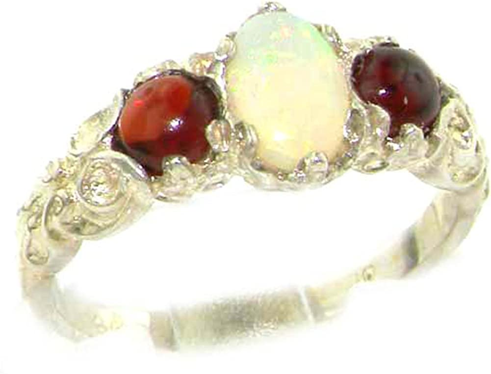 925 Sterling Silver New York Mall Real Genuine Opal Max 54% OFF Garnet Womens Rin and Band