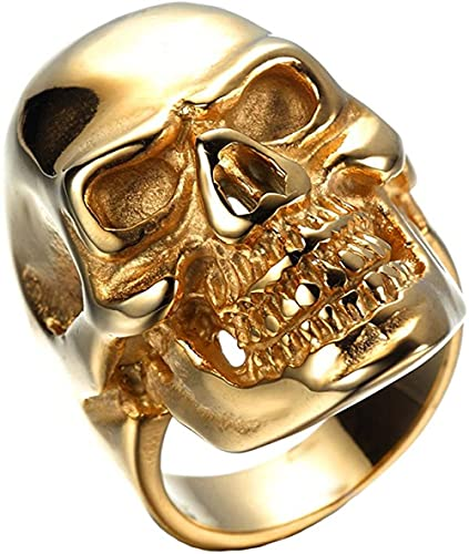 SKYUXUAN Hombres S Anillos de Acero Inoxidable Oro Skull Gothic Vintage Biker Tamaño Z + 1 para Hombres Tono de Plata de Acero Inoxidable