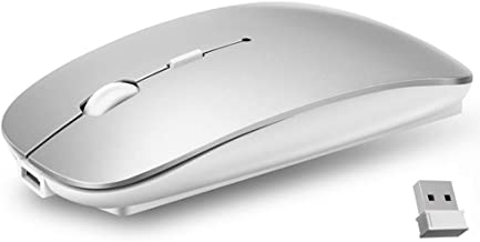 Ultra-Thin 2.4G Office Wireless Mouse Mute Charging Mouse Notebook Home Mouse with USB Receiver Compatible for Notebook, PC, Laptop, Computer, MacBook (Silver)