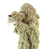 Ghost Ghillie Suit: Dry Grass Camo | Double-stitched Design with Adjustable Hood and Waist | Camo Hunting Clothes For Men, Military, Sniper, Airsoft, Paintball, And Hunting Ghillie Suit