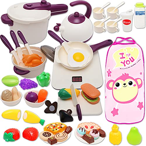 Kids Toys,Toys for Girls 70 Pcs Play Food,Play Kitchen Accessories with Cookware,Cooking Utensils,Toy Cutlery,Great Birthday Gift Toys for Age 3 4 5 6 Years Old Girl Boy,Learning Toys for Toddlers