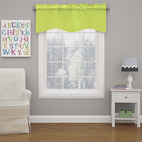 "ECLIPSE Kendall Solid Scalloped Window Valance Curtains, 42"" x 18"", Lime"