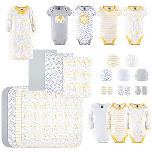 The Peanutshell Newborn Layette Gift Set for Baby Boys or Girls   23 Piece Gender Neutral Newborn Clothes & Accessories Set   Safari Themed Yellow