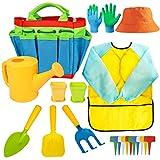 Kids Gardening Tools - Garden Tools Set - Kids Metal, Shovel, Rake, Trowel in One Tote Bag, Including Watering Can, Gardening Gloves, Smock - Garden Toys Gift for Toddler Preschool Boys & Girls