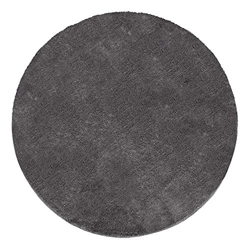 Tapis Rond Salon Tapis Poil Ras Moderne Moelleux Lavable Monochrome, Dimension:Ø 200 cm Rond, Couleur:Anthracite