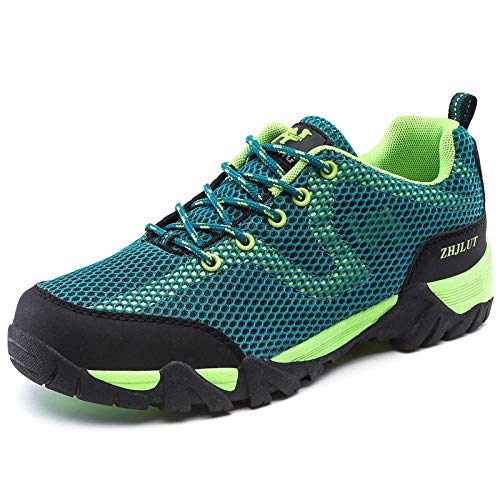 Y-PLAND Male big size mesh net breathable hiking shoes, outdoor hiking shoes, non-slip wear-resistant shoes-Lake green_EU 46