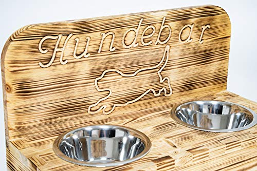 Hunsrück Manufaktur Hundebar S Futterbar inkl. 2X 700ml Futternapf für Hund Futterstation | Mit Rückwand für kleine bis mittlere Hunde