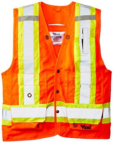 """Viking Surveyor Hi-Vis Safety Vest with U Configuration 4"""" Reflective Tape, Orange, XX-Large"""