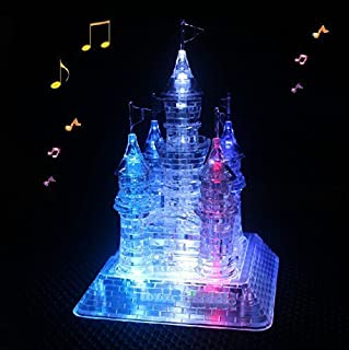 WAYCOM 3D Crystal Castle Puzzle - 3D Jigsaw, Light-Up Musical,105pcs
