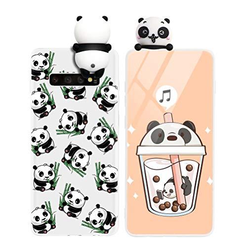 Yoedge Funda para Samsung Galaxy A51 4G, Silicona Cárcasa 3D Animal Muñecas Toy con Dibujos Antigolpes de Diseño Suave TPU Ultrafina Case Cover Fundas Movil para Samsung Galaxy A51 6,5', Panda 2