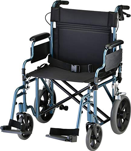 """NOVA Heavy Duty Bariatric Transport Chair with 400 lb. Weight Capacity, 22"""" Extra-Wide Seat with Locking Hand Brakes, Flip Up Arms (for Easy Transfer), Anti-Tippers, 12"""" Rear Wheels, Color Blue"""