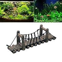 イミテーション橋の装飾のためにタートルテラス水族館の水槽の飾りの風景ウッド色橋水族館デコレーション (Size : M)