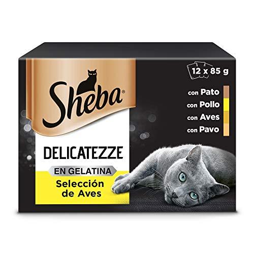 Sheba Delicatezze Comida Húmeda para Gatos Selección de Aves en Gelatina, Multipack (4 Cajas x 12 Sobres x 85g)