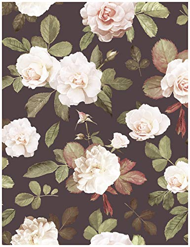 HaokHome 93021 Retro Peony Floral Peel and Stick Wallpaper Removable Brown/Green/White/Red Vinyl Self Adhesive Contact Paper 17.7'x 9.8ft