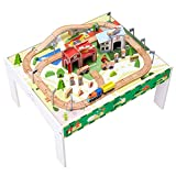 Teamson Kids - 85 pcs Train Set and Table Wooden Tracks and Accessories Preschool Play Lab Toys Country for Boys Kids Toddlers - White