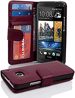 Cadorabo Book Case Works with HTC ONE M7 (1. Gen.) in Bordeaux Purple – with Magnetic Closure and 3 Card Slots – Wallet Etui Cover Pouch PU Leather Flip