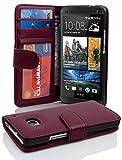 Cadorabo Hülle für HTC ONE M7 (1. Gen.) in Bordeaux LILA – Handyhülle mit Magnetverschluss & 3 Kartenfächern – Hülle Cover Schutzhülle Etui Tasche Book Klapp Style