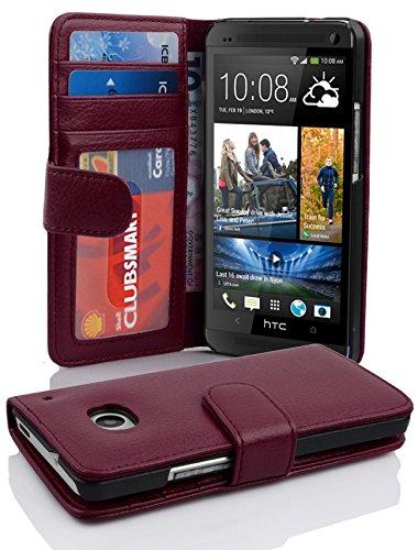 Cadorabo Hülle für HTC ONE M7 (1. Gen.) - Hülle in Bordeaux LILA – Handyhülle mit 3 Kartenfächern - Case Cover Schutzhülle Etui Tasche Book Klapp Style