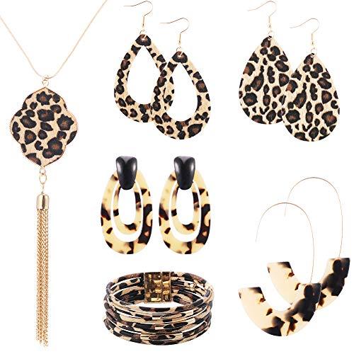 Redcherry 6 Stuks Luipaard Sieraden Set, Luipaard Lederen Armband Luipaard Dangle Oorbel Luipaard Ketting voor Vrouwen