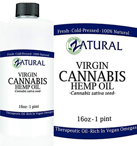 Hemp Oil (455,000mg - 16oz) Anti-Inflammatory Pain Relief 100% Pure Cold Pressed High Vegan Omegas 3 & 6 No Fillers or Additives Therapeutic Grade (16 Ounce)