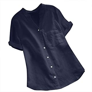 SFE Womens Cotton Linen Short Sleeve Shirt Summer Solid Button Down Casual Blouse Comfortable Breathable Tops