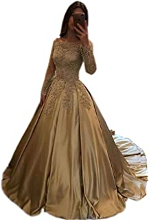 BessDress Off The Shoulder Formal Ball Gown Lace Illusion Long Sleeves Evening Party BD282