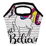 Heeh - Bolsa de almuerzo con diseño de unicornio y arco iris, con cierre aislado