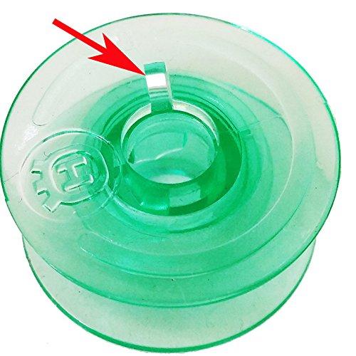 20pcs Clear Green Bobbins Compatible with Viking Husqvarna White Home #4125615-45#4123078-G, for Husqvarna Viking Rose Designer Platinum Lily Series, Pfaff