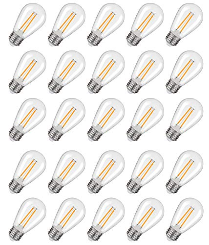 25 Pack LED S14 Replacement Light Bulbs, 2W Shatterproof Waterproof Outdoor String Light Bulbs,E26 Regular Base,2200K Warm White,150LM,CRI80,Non-Dimmable