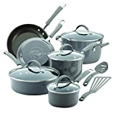 Rachael Ray 16802 Cucina Nonstick Cookware Pots and Pans Set, 12 Piece, Sea Salt Gray