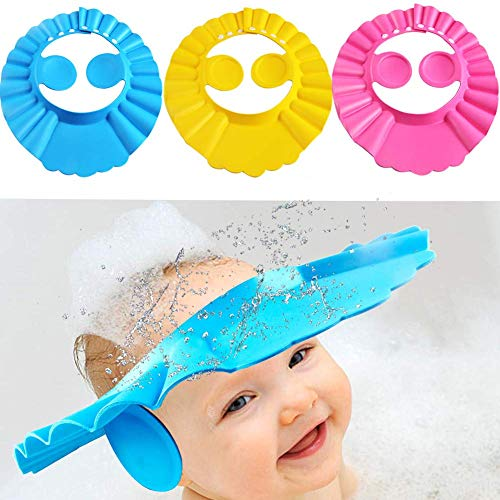 Gorro de ducha para bebé, 3 piezas, con visera ajustable, suave y con champú, protección de baño para bebés, niños y niños