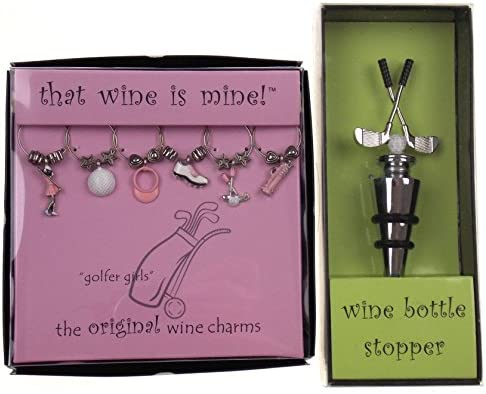 Golfer Girls Wine Charms Golf Club Bottle Stopper Bundle product image
