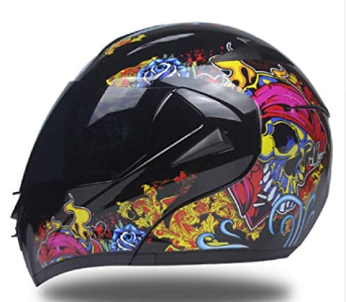 OLEEKA Cascos de motocicleta DOT Safe Dual Lens Flip Up Motocross Casco integral para hombres o mujeres