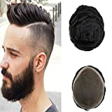 Axowr Toupee For Men Long Life Fine Mono Lace European Human Hair Mens Toupee Hairpiece With NPU Skin Around Hair System Wig Hair Replacement for Men Color #1B