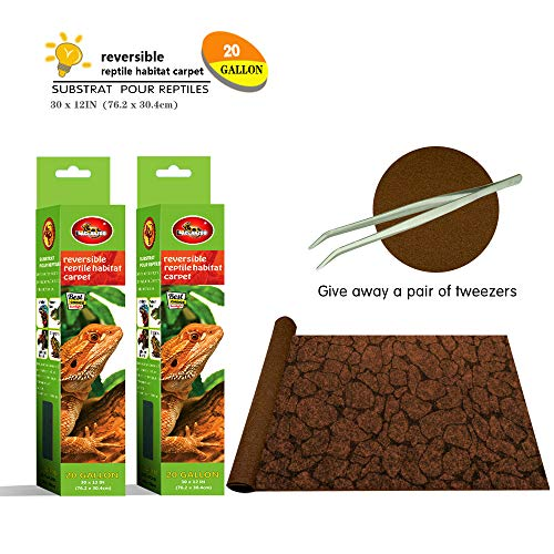 Mclanzoo Reptile Carpet,Pet Terrarium Liner,Reptiles Cage Mat/Substratefor Snakes, Chameleons, Geckos ands Kitchen Use(2sheets) with Tweezers Feeding Tongs (Printing Desert, 20Gallon(30 x 12in))