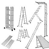 Finether 4.7M Leiter Mehrzweckleiter Klappleiter Gelenkleiter 4x4 Sprossen Aluleiter Multifunktionsleiter