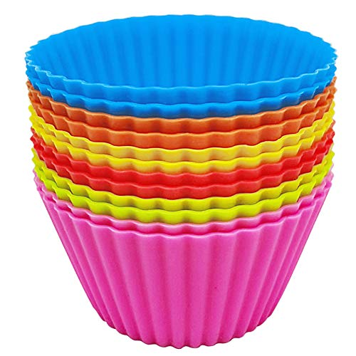 12 Packs Silicone Baking Cups,Reusable Cupcake Liner,Non-stick Cake Molds Muffin Liners,Food-Grade Safe BPA Free Silicon Cupcake Baking Cups 6 Rainbow Colors