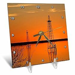 3dRose dc_94465_1 Oil Well Derricks, industry, Lake Arrowhead, Texas US44 LDI0004 Larry Ditto Desk Clock, 6 by 6-Inch