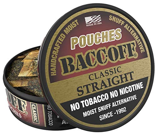 BaccOff, Original Straight Pouches, Premium Tobacco Free, Nicotine Free Snuff Alternative (10 Cans)