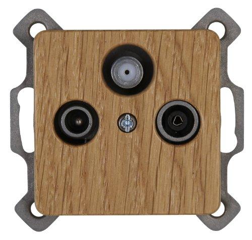 Kopp 917130081 Milano Antennensteckdose mit drei Ausgängen, TV/RF/SAT, Einzel- und Durchgangsdose, eiche-natur