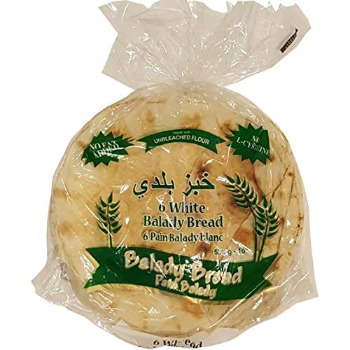 Balady White Pita Bread 10' 525g, bag of 6 bread, pack of 2 bags
