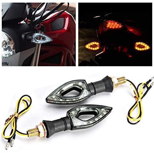 INNOGLOW 2 PCS 12V Motor Turn Signals Black Indicator Blinker Red Light Universal for Honda Kawasaki Suzuki Yamaha Harley Davidson Motorcycle Turn Signals