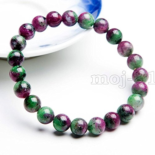 Natural 6mm Green Ruby In Zoisite Round Gemstone Beads Stretch Bracelet 7.5''